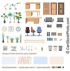 conjunto, oficina, empresa / negocio, crear, scene., poseer, elementos, interior, su, muebles