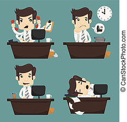 conjunto, oficina, sentado, trabajador, escritorio, hombre ...