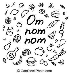 conjunto, om, nom., colección, comida., hand-drawn, garabato...