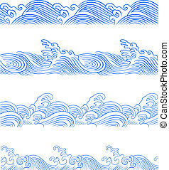 conjunto, onda océano