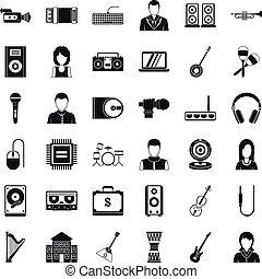 conjunto, opus, estilo, iconos simples
