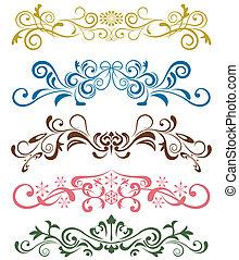 conjunto, ornamentos, diseño