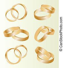 conjunto, oro, anillos, vector, plano de fondo, boda