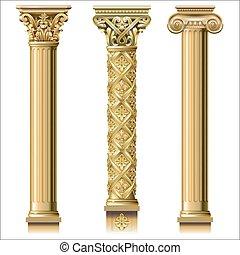 conjunto, oro, columnas, clásico