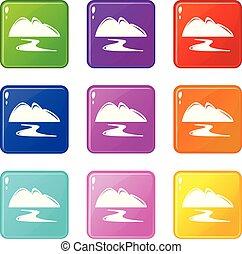 conjunto, oro, iconos, color, mina, colección, 9, nuevo