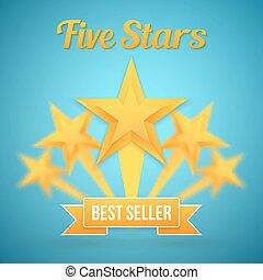conjunto, oro, vector, cinco, estrellas, icon., template., mejor, icono