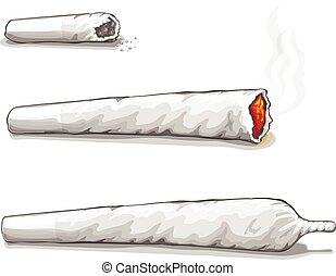 conjunto, ou, spliff., droga, consumo, marijuana, e, fumar,...
