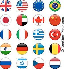conjunto, país, vector, brillante, popular, flags., redondo, icono