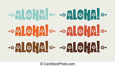 conjunto, palabra, aloha, colores, vector, retro