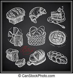conjunto, panadería, fondo negro, digital, dibujo, icono