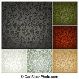 conjunto, papel pintado, seamless, patrón, colores, seis