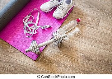 conjunto, para, actividades de deportes, en, piso embaldosado