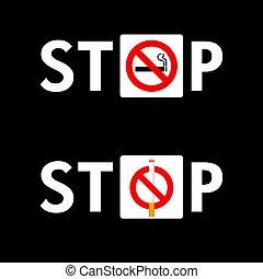 conjunto, parada, ilustración, señal, fondo negro, fumar