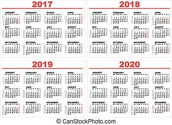 conjunto, pared, 2020, 2017, cuadrícula, 2019, calendario, ...