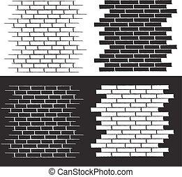 conjunto, pared, ilustración, vector, plano de fondo, ladrillo