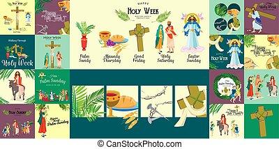 conjunto, pascua, cena, corona, jesús, bueno, palma, antes, ...