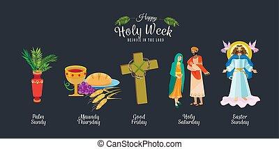 conjunto, pascua, cena, corona, jesús, bueno, palma, antes,...