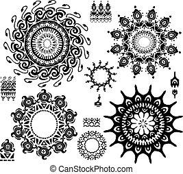 conjunto, patrón, ornamental
