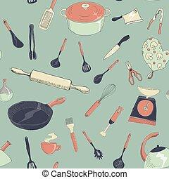 conjunto, patrón, seamless, mano, vector, dibujado, icono, illustrtaion, cocina