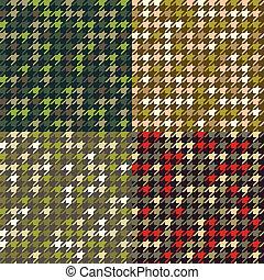 conjunto, patterns., houndstooth, camuflaje
