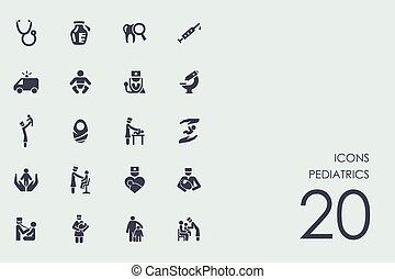 conjunto, pediatría, iconos