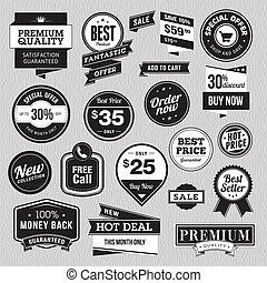conjunto, pegatinas, venta, insignias