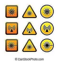 conjunto, peligro, advertencia, símbolos