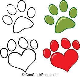 conjunto, perro, colección, pata