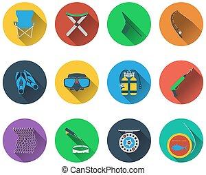 conjunto, pesca, iconos