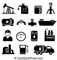 conjunto, petróleo, aceite, icono