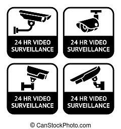 conjunto, pictogram, cctv, símbolo, etiquetas, cámara, seguridad