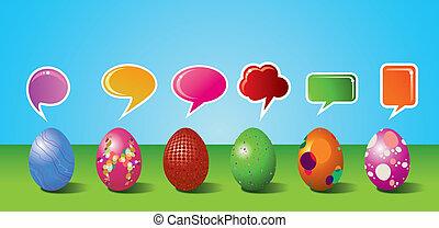 conjunto, pintado, medios, social, huevo de pascua