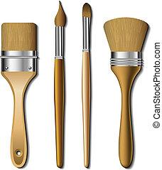 conjunto, pintura, cepillo