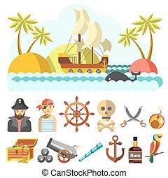conjunto, piratical, iconos, vector