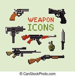 conjunto, pixel, arma de fuego, iconos