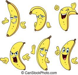 conjunto, plátano, caricatura