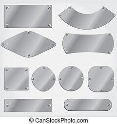 conjunto, placas, objetos, metal, agrupado
