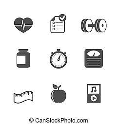 conjunto, plano, condición física, contraste, iconos