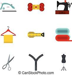 conjunto, plano, estilo, costura, iconos