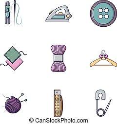 conjunto, plano, estilo, tejido de punto, iconos