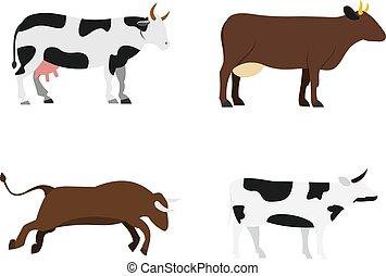 conjunto, plano, estilo, vaca, icono
