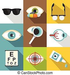conjunto, plano, oftalmología, estilo, iconos