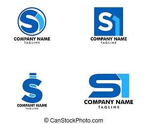 conjunto, plantilla, inicial, si, diseño, carta, logotipo
