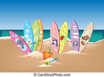 conjunto, playa, tablas de surf, ilustración