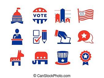 conjunto, político, iconos
