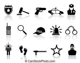 conjunto, policía, iconos