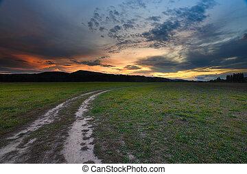 conjunto, polvoriento, perspectiva, tierra, hermoso, camino...