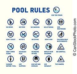 conjunto, pool., iconos, símbolo, rules., piscina, natación