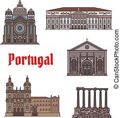 conjunto, portugal, viaje, marca famosa, icono