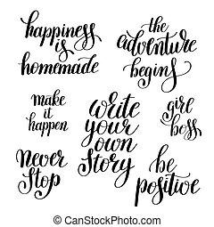 conjunto, positivo, citas, typograph, cepillo, inspirador, ...